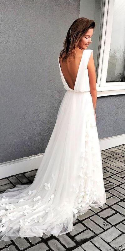 Elegant White Long Chiffon Beach Wedding Dress,Bride Dress,2045