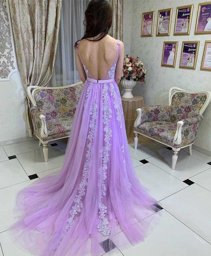 Elegant V Neck Lilac Long Formal Dress with Train,2048