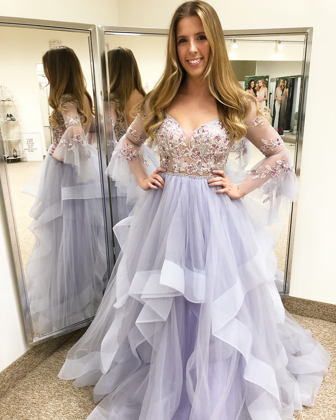 Princess A-line Long Sleeves Ball Gowns,2049