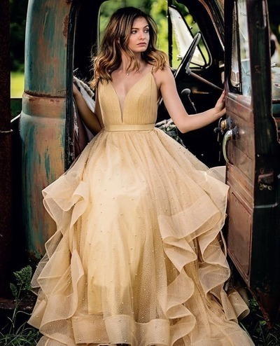 Gorgeous Straps Gold Long Prom Dress,2050