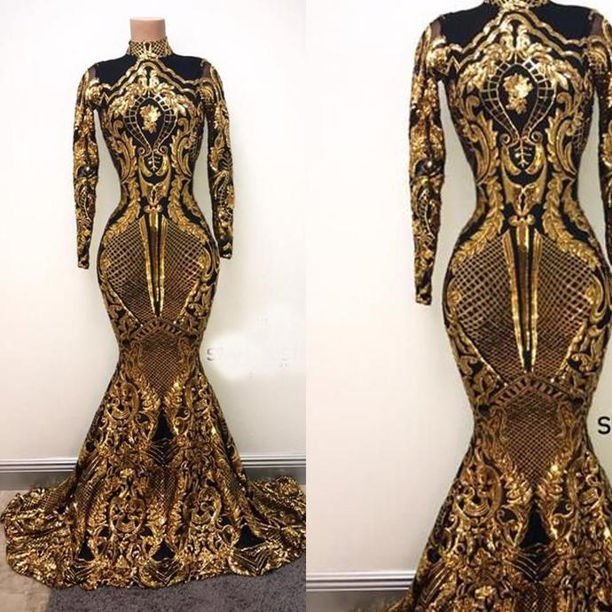 black and gold evening dresses long sparkly mermaid high neck modest evening