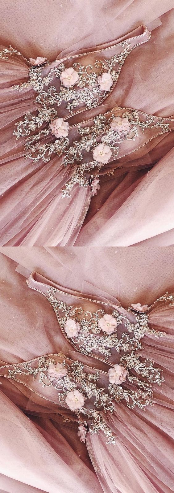 A-Line V-neck Backless Sweep Train Pink Prom Dress with Beading Flowers ,2053