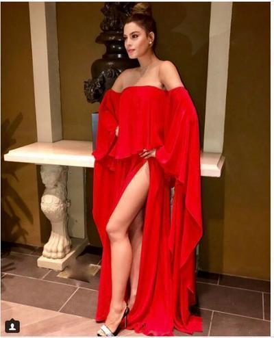 Sexy Red Prom Dress Evening Dress Long Sleeves Chiffon High Split Prom Dresses