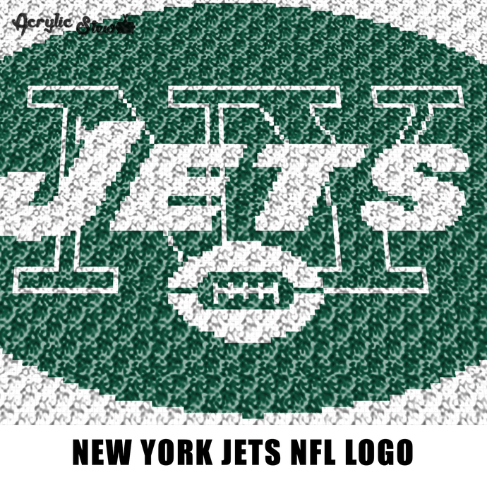 New York NY Jets NFL Word and Icon Logo Design crochet graphgan blanket pattern;