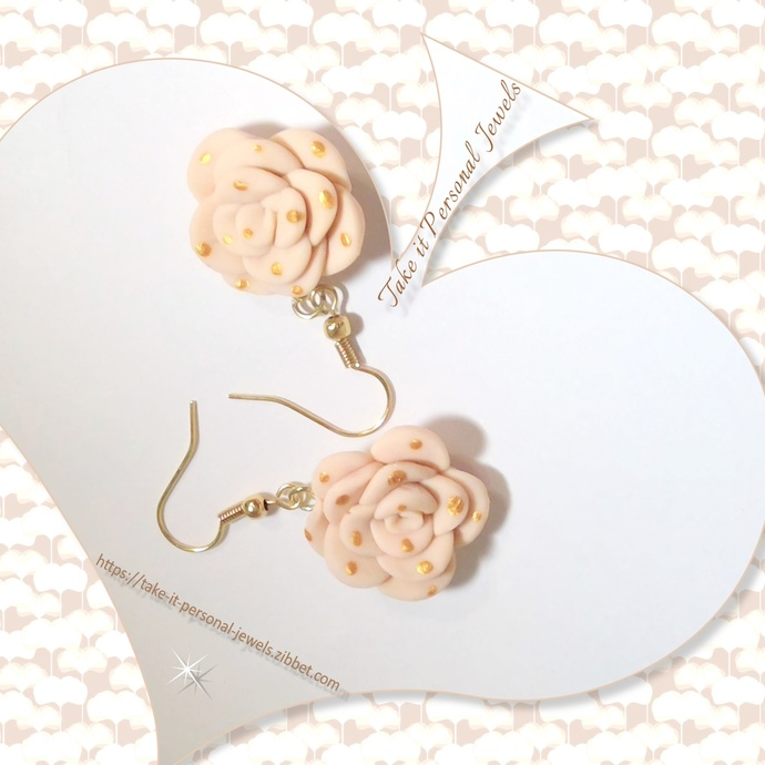 Beige Gold Dotted Flower Earrings