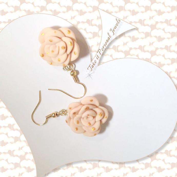 Beige Gold Dotted Flower Earrings
