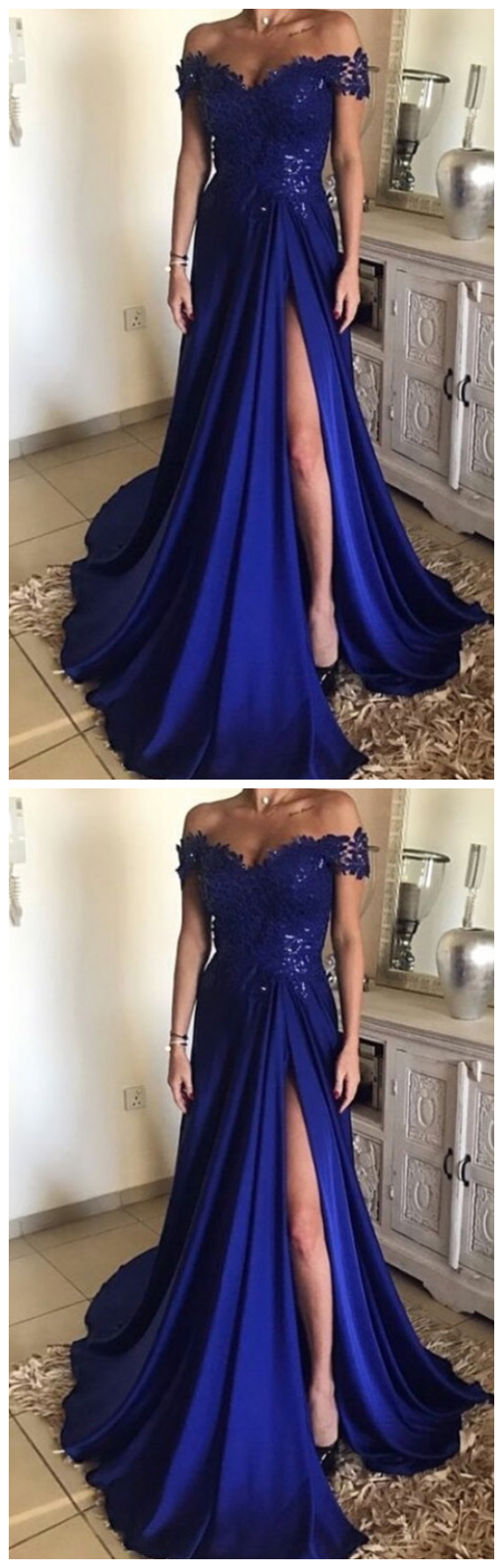 High Slit Evening Dress, A Line Appliques Prom Dress, Dark Blue Long Prom
