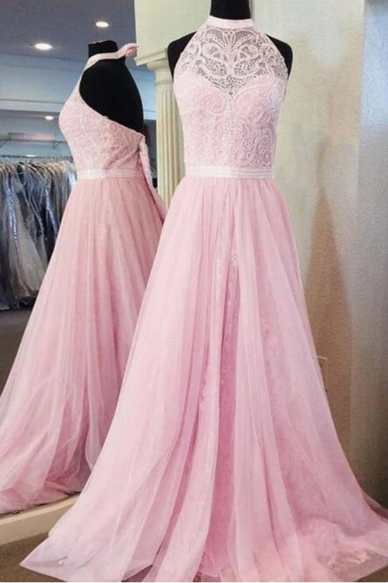 Halter Neck A-line Beaded Long Prom Dress Fashion Formal Dress