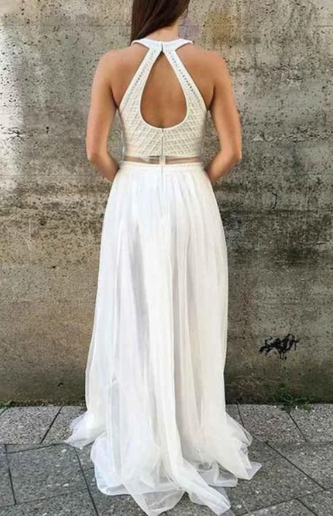 Open Back Beaded Long Prom Dress Fashion Formal Dress