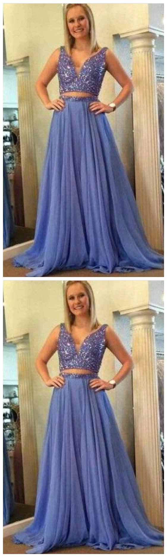 Two Pieces Long Prom Dress with Beading Sweet 16 Dance Dress Fashion Winter