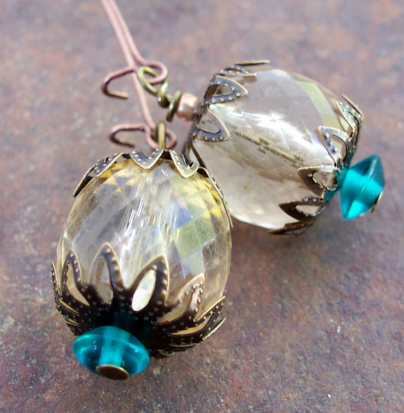 Vintage Sparkly Lucite Earrings