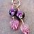 Purple Lampwork and Leaves Earrings