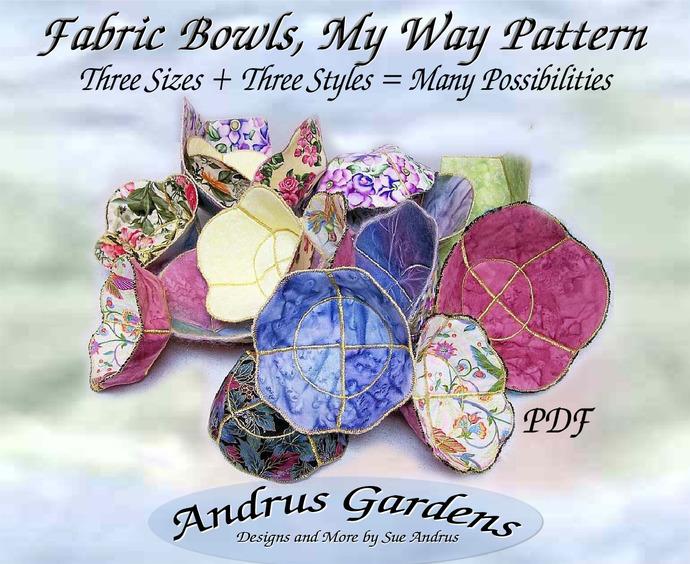 Fabric Bowl Pattern Instructions PDF- 3 sizes