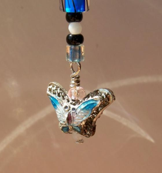 Fun Stuff - Blue Filigree Cloisonne Butterfly Cell Phone Jewelry