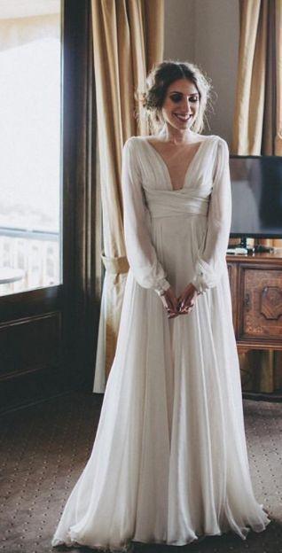 simple wedding dress, unique wedding dress, chiffon wedding dress