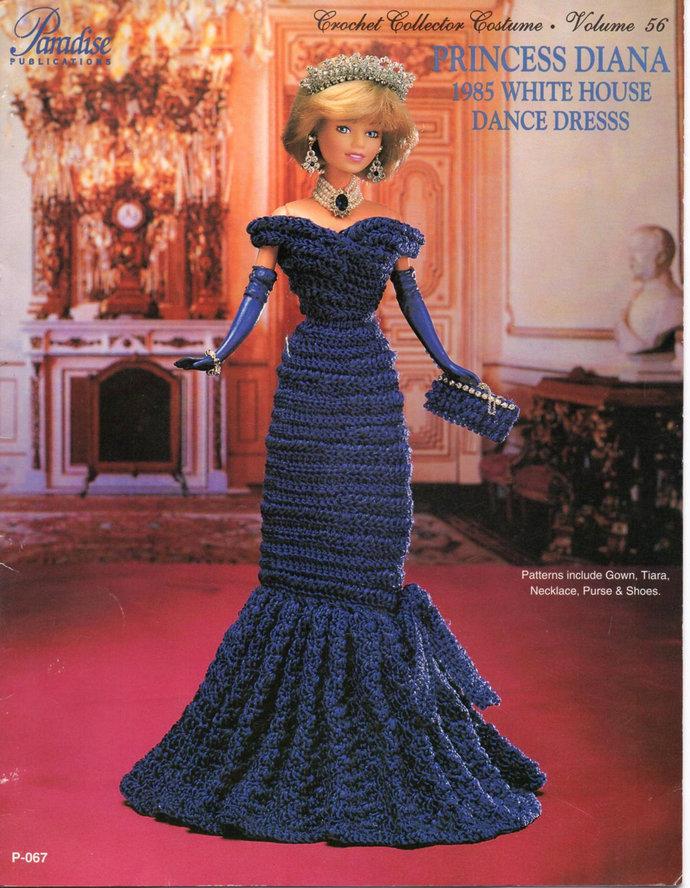 Princess Diana Dance Dress Fashion Doll Crochet Pattern Paradise #56 Barbie