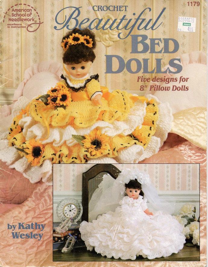Beautiful Bed Dolls, Pillow Dolls Vintage Crochet Pattern ASN Leaflet 1179