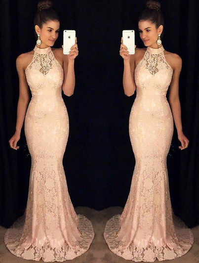 High Neck Trumpet/Mermaid - Lace Sexy Prom Dresses