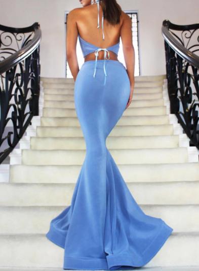 Halter A-Line/Princess - Satin Sexy Prom Dresses