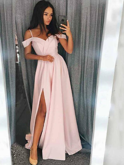Spaghetti Straps Charmeuse Sweetheart A-Line/Princess Prom Dresses