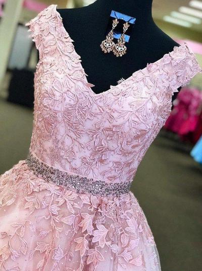 General Plus Appliques A-Line/Princess Tulle Prom Dresses