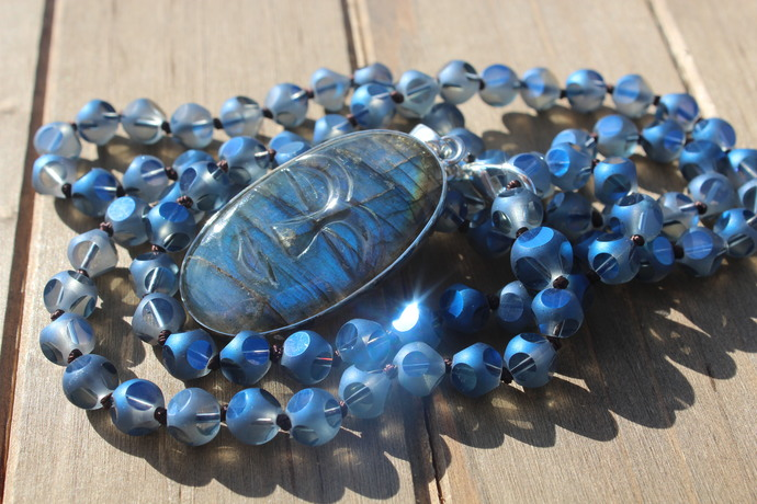 Mystical Light Long Beaded Necklace with Pendant Glowing Labradorite by