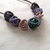 Blue Grey Pink and Purple Squiggle Bead Necklace