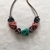 Mint Purple Pink and Grey Squiggle Bead Necklace