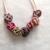 Purple Pink Beige Mix Squiggle Bead Necklace