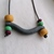 Asymmetrical Granite Yellow Green and Purple Polymer Clay Necklace