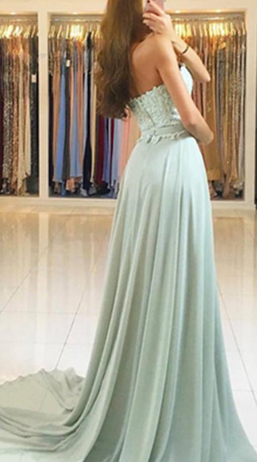 Elegant Chiffon A-line Evening Dresses Zipper Back Beaded Sweep Train Prom