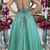 Fashionable Jewel Neck Tulle A-line Evening Dresses Button Back Appliques Beaded