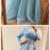Muslim A Line Evening Dresses 2020 Beaded 3D Handmade Flowers Blue Long Sleeve
