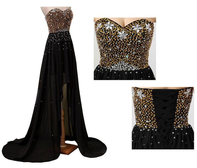 Black Chiffon with Gold Beaded Sweetheart Party Dress, Black Prom Dress 2020