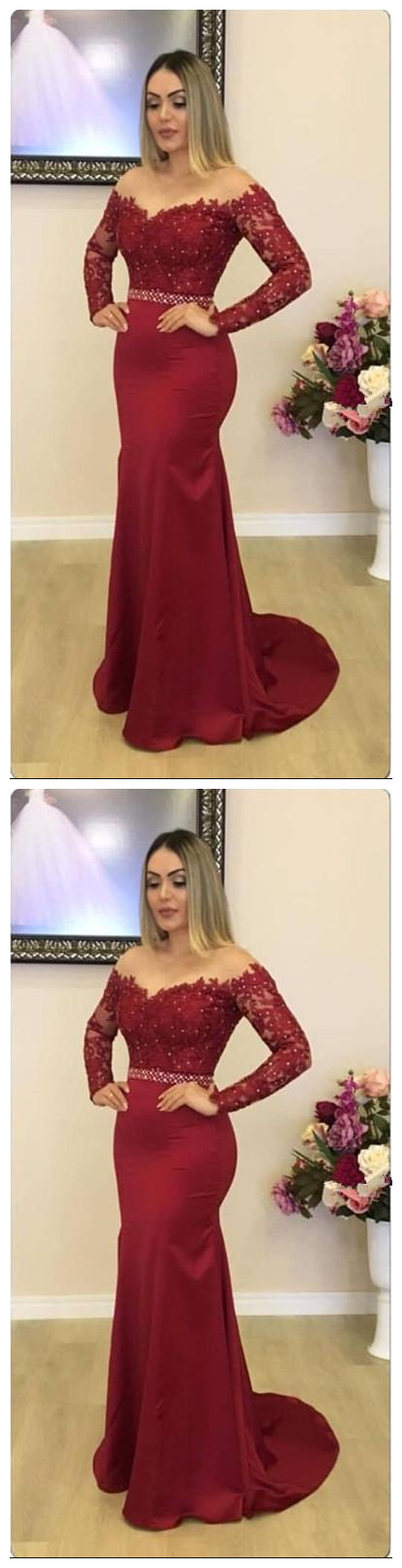 Sexy Long Sleeves Mermaid Evening Dresses Lace Appliques Arabic Dubai Prom Party