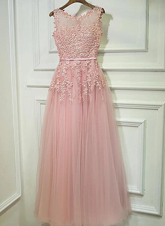 Pink Tulle with Lace Long Prom Dress 2020, A-line Party Dress