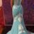 Mingt Green Lace Applique Long Sweep Mermaid Evening Dresses Zipper Back Off