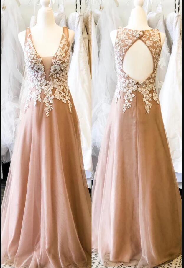 Champagne Lace Prom Dress With Appliqued, A Line Long Bridesmaid Dress