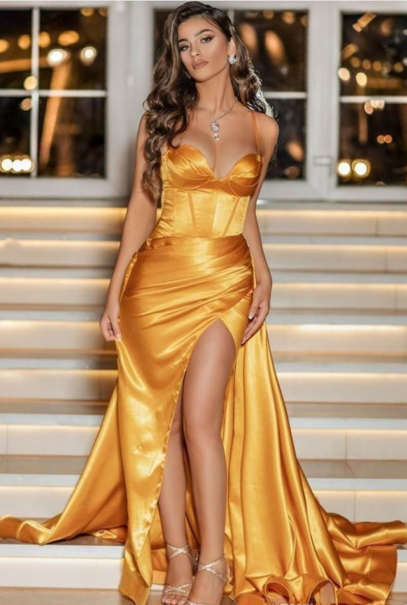 Sexy Yellow Prom Dresses Cheap Spaghetti Satin High Split Evening Gowns Plus