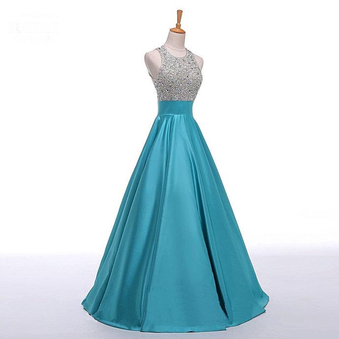 Beautiful Halter Beaded Satin Prom Dresses, Turquoise Long Prom Dress,
