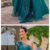 Vintage Dark Green Lace Appliqued A-line Prom Dress Eleagnt One Shoulder Evening