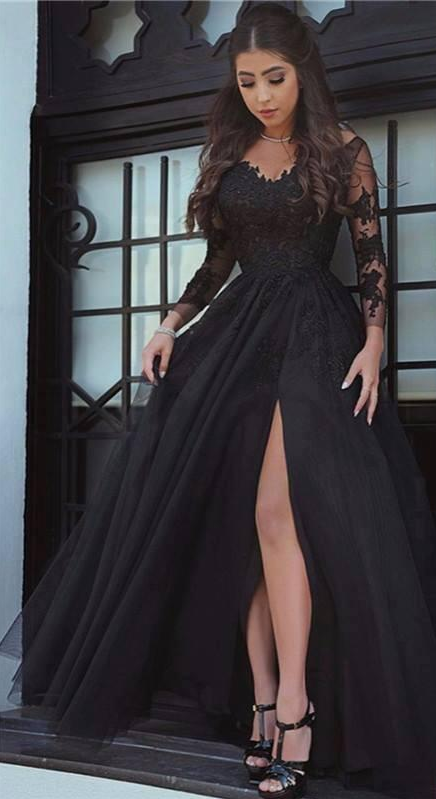 New Glamorous Sexy Black Long Sleeves Prom Dresses Front Split Floor Length
