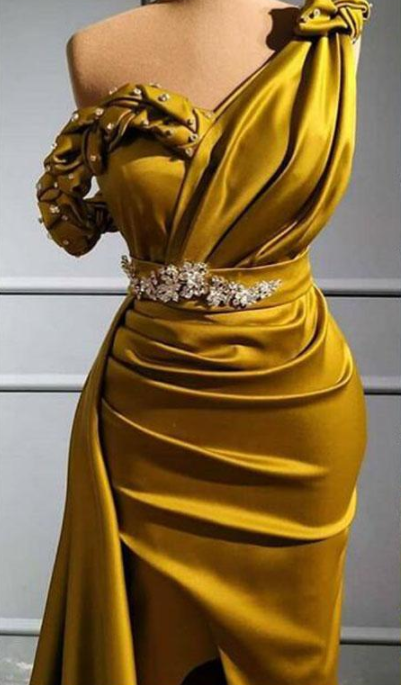Yellow One Shoulder Mermaid Prom Dresses Sexy Crtstal Beaded Arabic Evening Gown