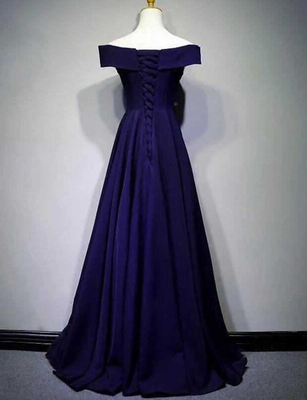 Navy Blue Long Bridesmaid Dress, Elegant Prom Dress 2020