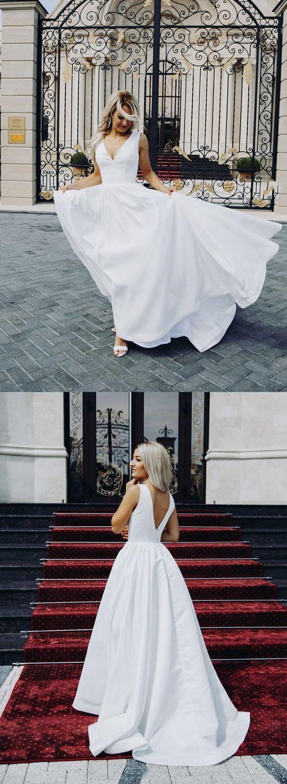 White v neck satin long prom dress, evening dress    ML6010