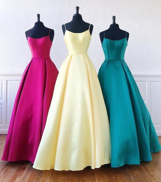 Unique Long Satin Scoop Neck A Line Graduation Dress, Bridesmaid Dress   ML6015