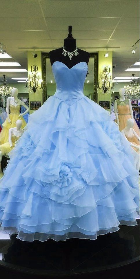 Sweetheart Organza Layered Ball Gowns Quinceanera Dress,Real Made Quinceanera