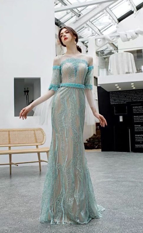 Turquoise prom dress mermaid fishtail evening dress off-the-shoulder party dress