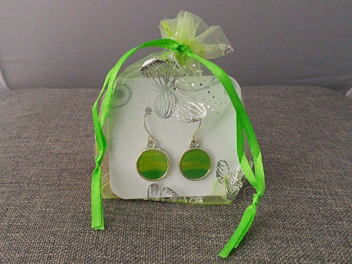 Green Original Fluid Art Earrings