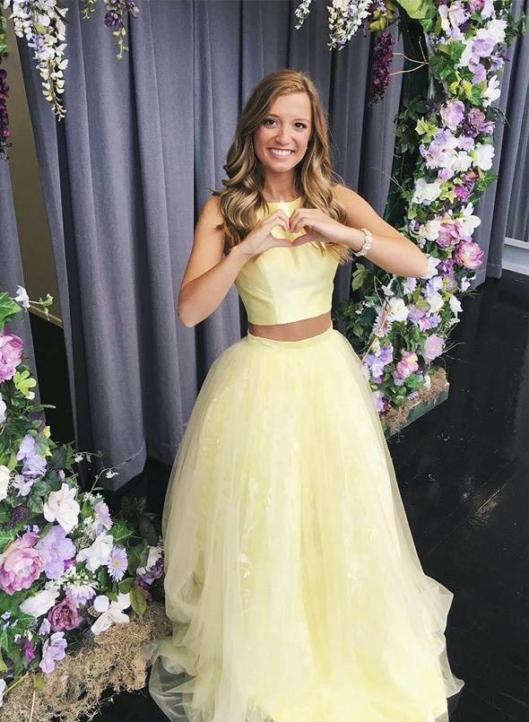 Yellow tulle long prom dress yellow evening dress    ML6023